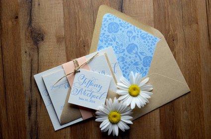 Peach and light blue wedding invitation - www.etsy.com/shop/FlairNecessities