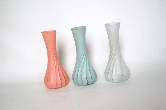 Peach White And Light Blue Vases Etsyshop