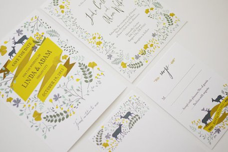 Spring woodland wedding invitation - www.etsy.com/shop/3EggsDesign