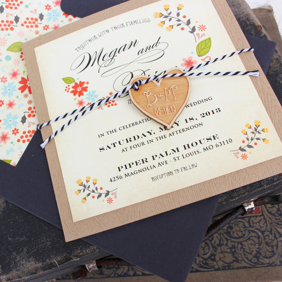 vintage floral wedding invitation wwwetsycom shop With vintage floral wedding invitations etsy