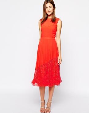 Warehouse Lace Hem Midi Dress From Asos