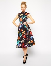 ASOS Midi Dress in Poppy Print with Full Skirt, from asos.com