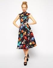 ASOS Midi Dress in Poppy Print with Full Skirt, from asos.com