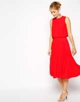 ASOS Midi Skater Dress with Pleated Skirt and Blouson Top, from asos.com