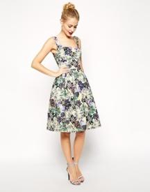 ASOS Premium Debutante Scuba Digital Jewel Print Midi Dress, from asos.com