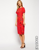 ASOS TALL Waterfall Pencil Dress in Swallow Print, from asos.com