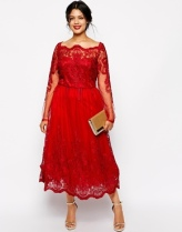 Chi Chi Plus Longsleeved Lace Bardot Midi Dress, from asos.com