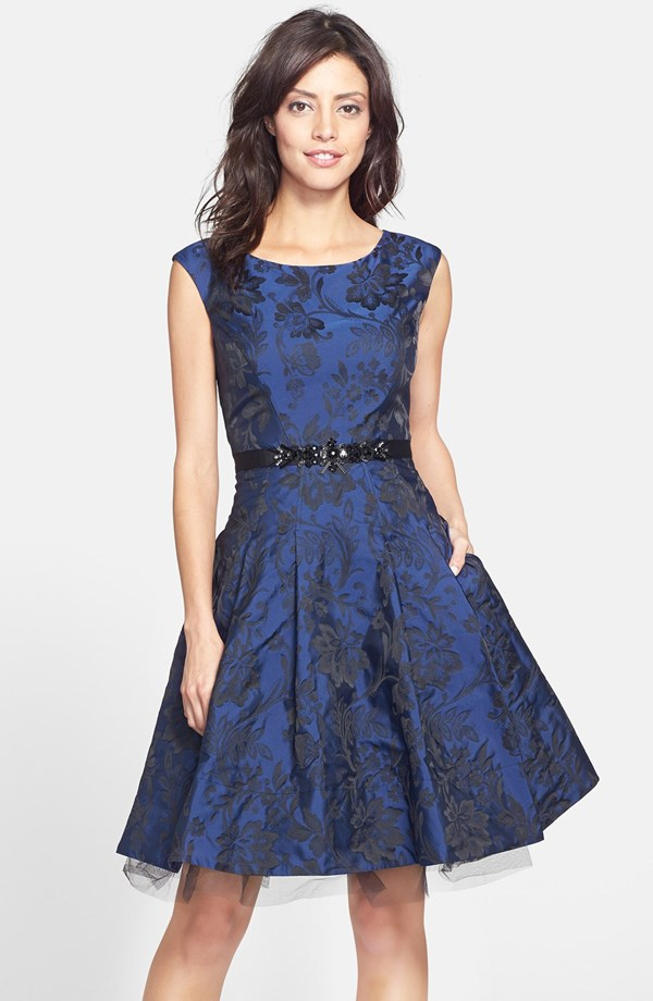 Eliza J Brocade Fit And Flare Dress From