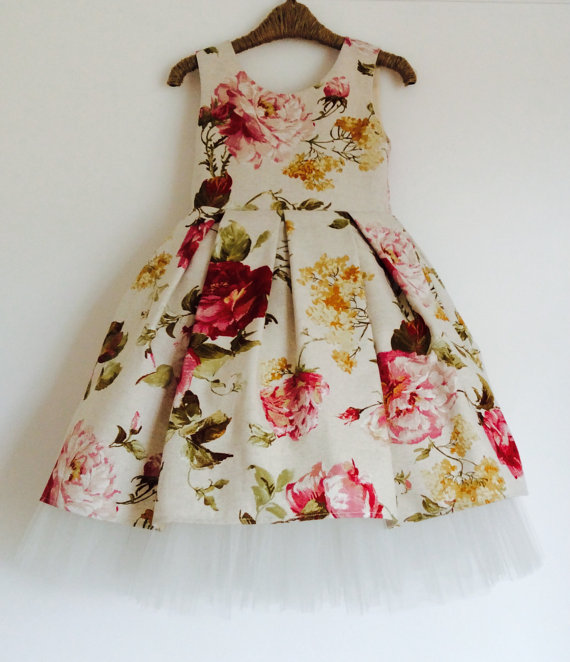 Floral Cotton Flower Girl Dress