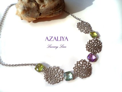 Lilac and green necklace - www.etsy.com/shop/Azaliya