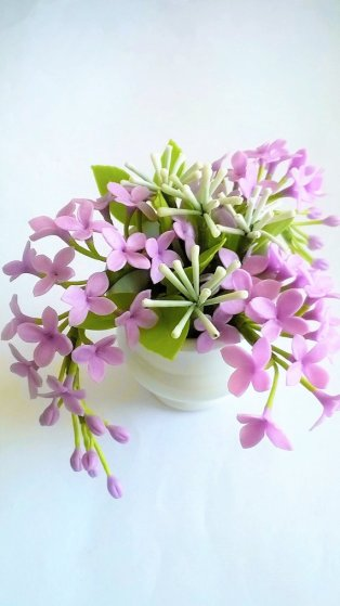 Lilac and green polymer clay flower centrepiece - www.etsy.com/shop/Mycraftgarden