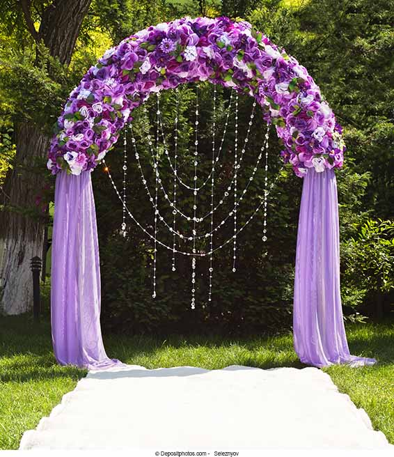 Wedding Arch Flowers Diy: Lilac And Apple-green Wedding