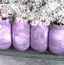 Lilac distressed mason jars - www.etsy.com/shop/TheRocheShop