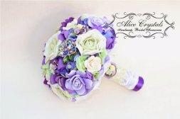Lilac, green and purple brooch bouquet - www.etsy.com/shop/AliceCrystals