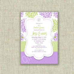 Liliac and green bridal shower invitation - www.etsy.com/shop/girlsatplay