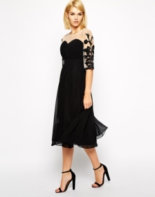 Little Mistress Tall Midi Dress With Embroidered Sleeves, from asos.com