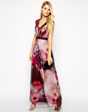 Little Mistress Tall Watercolour Floral Print Maxi Dress, from asos.com