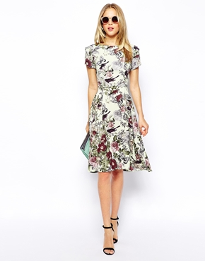 Love Midi Skater Dress in Botanical Floral Print, from asos.com
