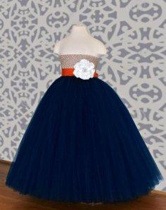 Navy, orange and champagne flower girl dress - www.etsy.com/shop/DreamingInBlush