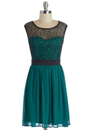 Starlet's web dress in jade, from modcloth.com