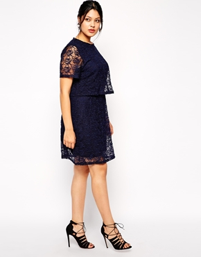 Truly You Lace Double Layer Pencil Dress, from asos.com