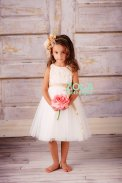 White and champagne flower girl dress - www.etsy.com/shop/zolaclothingco