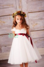 White and red cap-sleeved flower girl dress - www.etsy.com/shop/zolaclothingco