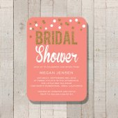 Coral and gold bridal shower invitation - www.etsy.com/shop/FateandFourtune
