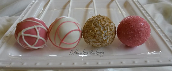 Coral and gold cake pops - www.etsy.com/shop/TheLollicakesBakery