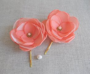 Coral and gold flower hair accessory - www.etsy.com/shop/ZBaccessory