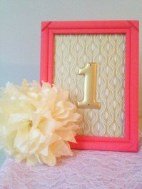 Coral and gold table numbers - www.etsy.com/shop/RiverKissWeddings