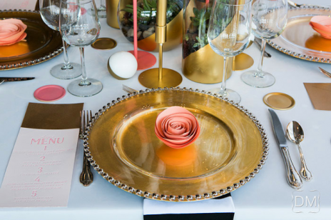 Coral and gold table setting inspiration {via atlantaweddingloft.com}