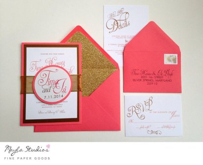 Coral and gold wedding invitation - www.etsy.com/shop/MaylaStudios