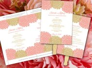 Downloadable coral and gold wedding fan template - www.etsy.com/shop/PaintTheDayDesigns