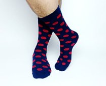 Groom's red and navy socks - www.etsy.com/shop/Tietle