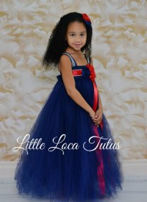 Red and navy flower girl dress - www.etsy.com/shop/LittleLocaTutus
