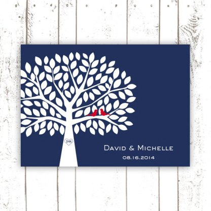 Red and navy guest book poster - www.etsy.com/shop/MooseberryPaperCo