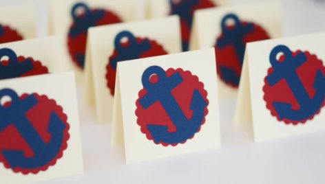 Red and navy nautical themed placecards - www.etsy.com/shop/CardsbyJeweleighaB