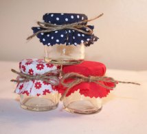 Red and navy wedding favour jars - www.etsy.com/shop/Melysweddings