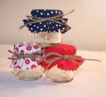 Red and navy wedding favour jars - www.etsy.com/shop/Melysweddings