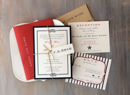 Red and navy wedding invitation - www.etsy.com/shop/BeaconLane