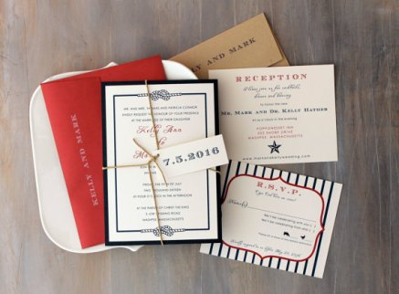 Red and navy wedding invitation - www.etsy.com/shop/BeaconLane