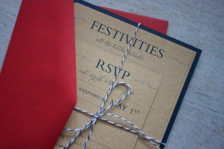 Red and navy wedding invitation - www.etsy.com/shop/madisonjennifer
