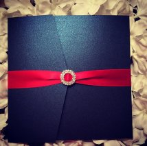 Red and navy wedding invitation - www.etsy.com/shop/VivaLeGlanz