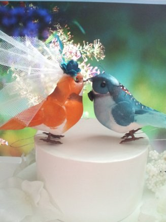 Teal and orange bird cake toppers - www.etsy.com/shop/MissRoseDanae