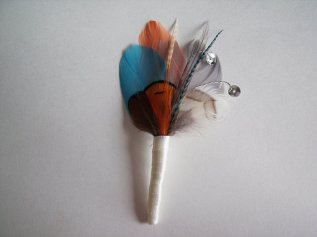 Teal and orange feather boutonniere - www.etsy.com/shop/ModernBridal