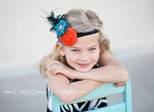 Teal and orange girls' headband - www.etsy.com/shop/LittleHatchlings