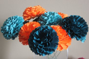 Teal and orange paper flowers - www.etsy.com/shop/BloomingBridges