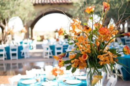 Teal and orange reception inspiration {via phoenixbrideandgroom.com}