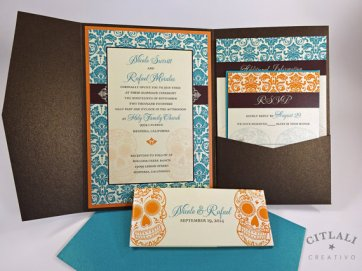 Teal and orange wedding invitation - www.etsy.com/shop/citlali